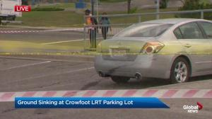 Ground sinking at Crowfoot LRT parking lot